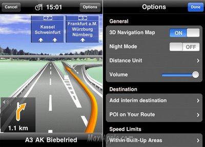 Navigon iPhone Interface