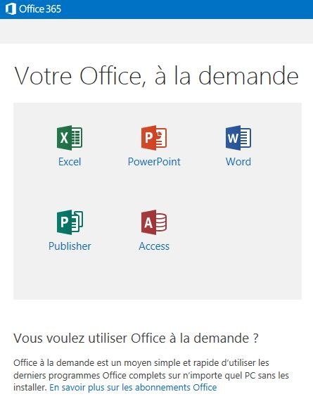 Microsoft Office 365 à la demande
