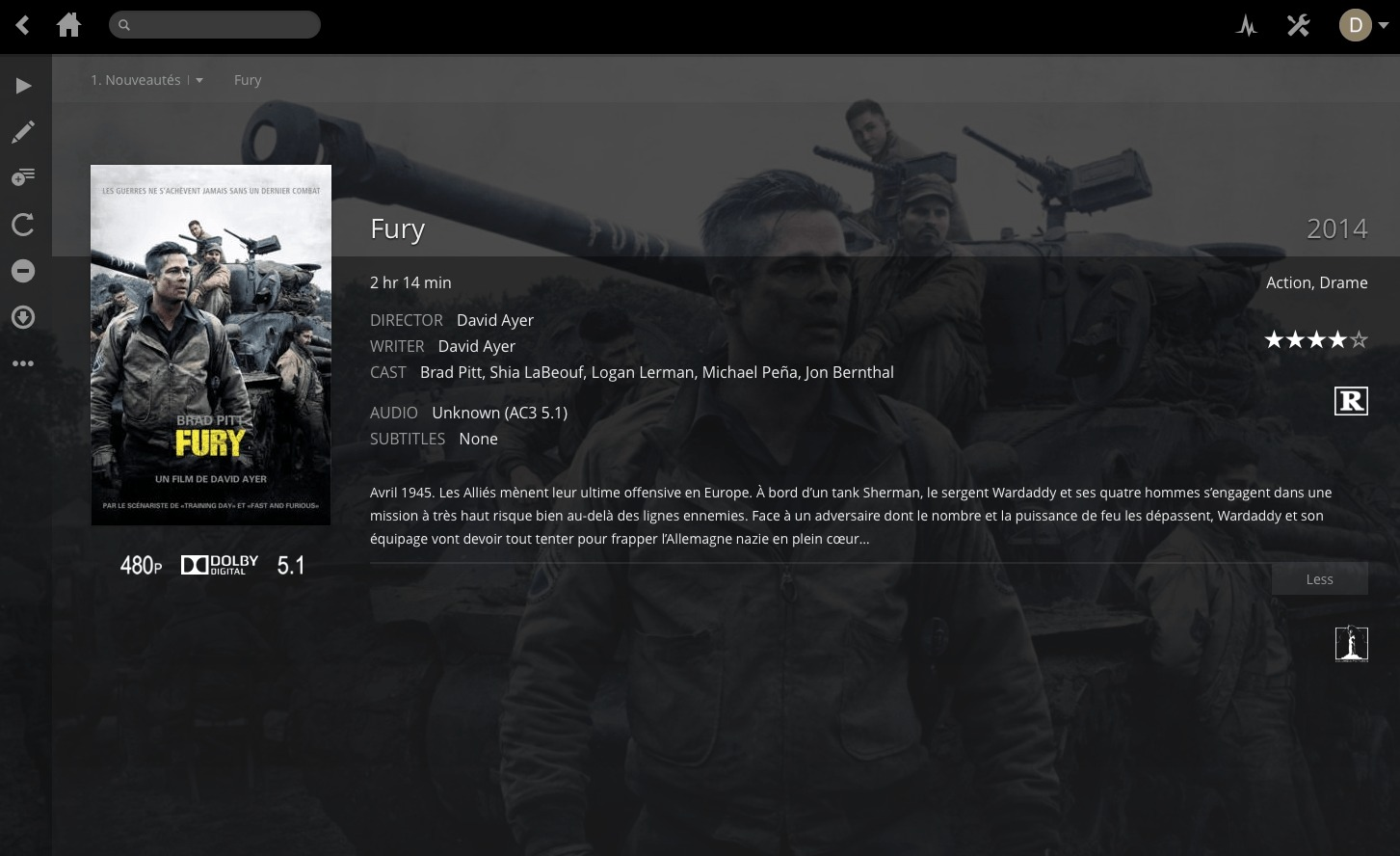 "plex displaying the movie ""Fury"""